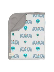 Păturică din bumbac organic Fresk - Elefant Blue