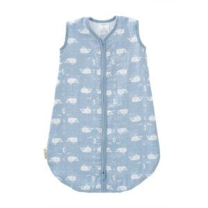 Sac de dormit din bumbac organic 100% cu exterior din muselină - Fresk Whale Blue