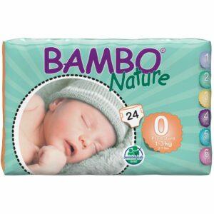 Scutece ecologice pentru prematuri - Bambo Nature (Nr.0) - 24 buc