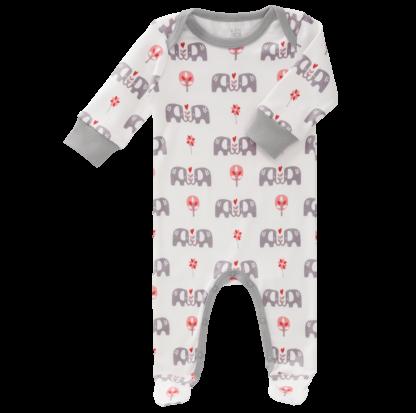 Pijamale cu talpă, din bumbac organic Fresk - Elefant pink