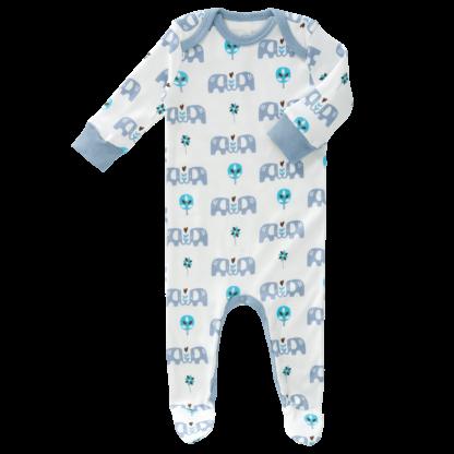 Pijamale cu talpă, din bumbac organic Fresk - Elefant blue