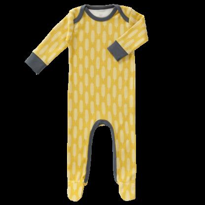 Pijamale cu talpă, din bumbac organic Fresk - Havre Mustard