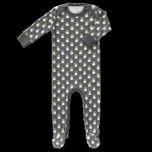 Pijamale cu talpă, din bumbac organic Fresk - Pineapple Anthracite