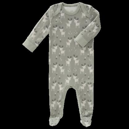 Pijamale cu talpă, din bumbac organic Fresk - Deer forest green