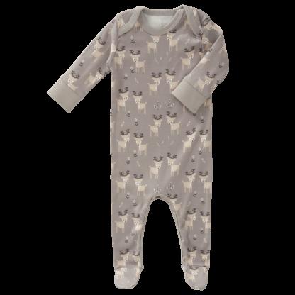 Pijamale cu talpă, din bumbac organic Fresk - Deer ash grey