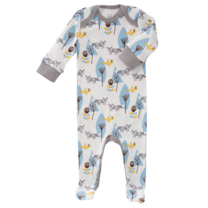 Pijamale cu talpă, din bumbac organic Fresk - Fox blue