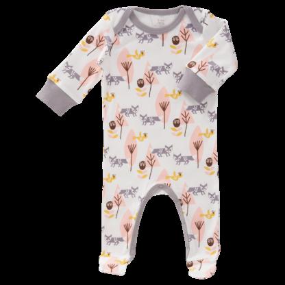 Pijamale cu talpă, din bumbac organic Fresk - Fox pink