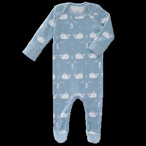 Pijamale cu talpă, din bumbac organic Fresk - Whale bluefog