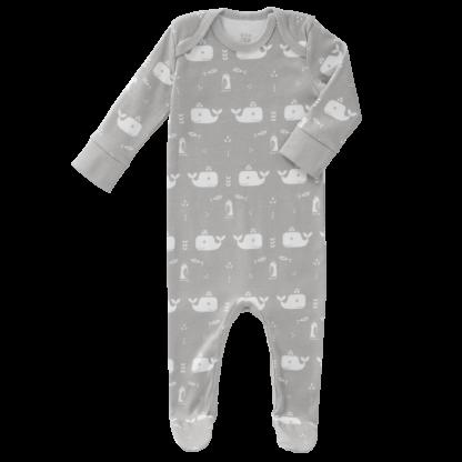 Pijamale cu talpă, din bumbac organic Fresk - Whale down grey