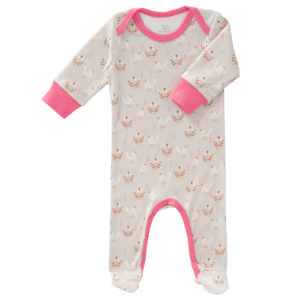 Pijamale cu talpă, din bumbac organic Fresk - Fugl grey