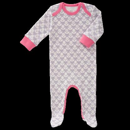 Pijamale cu talpă, din bumbac organic Fresk - Blomster grey