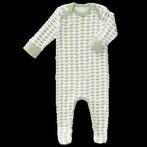 Pijamale cu talpă, din bumbac organic Fresk - Leaves mint
