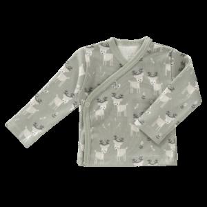 Bluză cu capse din bumbac organic Fresk - Deer forest green