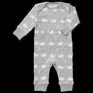 Pijamale până la gleznă din bumbac organic Fresk - Whale down grey