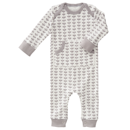 Pijamale până la gleznă din bumbac organic Fresk - Leaves ash grey