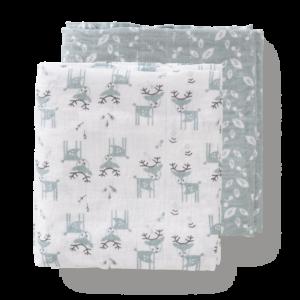 Set păturici de muselină pentru înfășat bebe Fresk - Deer forest green (120)