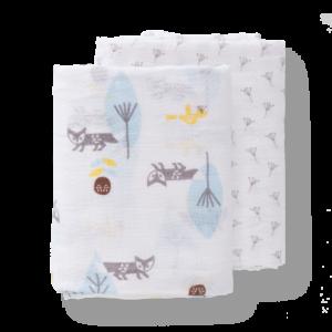Set păturici de muselină pentru înfășat bebe Fresk - Fox blue (120)
