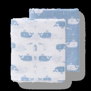 Set păturici de muselină pentru înfășat bebe Fresk - Whale bluefog (120)