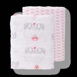 Set păturici de muselină pentru înfășat bebe Fresk - Elefant pink (120)