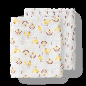 Set păturici de muselină pentru înfășat bebe Fresk - Fugl grey (120)