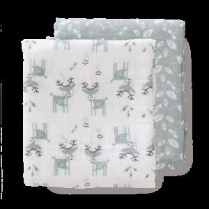 Set păturici de muselină pentru înfășat bebe Fresk - Deer forest green