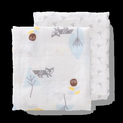 Set păturici de muselină pentru înfășat bebe Fresk - Fox blue