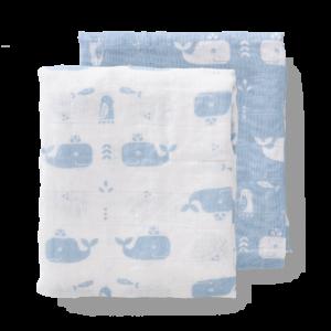 Set păturici de muselină pentru înfășat bebe Fresk - Whale bluefog