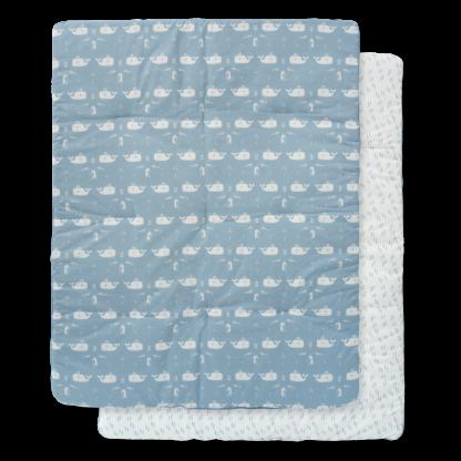 Pătură groasă din bumbac organic Fresk - Whale blue