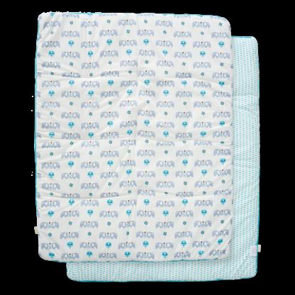 Pătură groasă din bumbac organic Fresk - Elefant blue