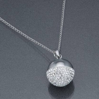 Bola argintiu cristale Swarovski (lanț argint)