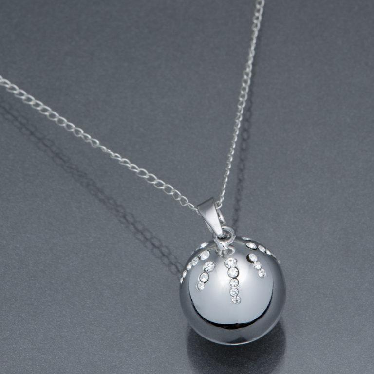 Bola argintiu glob-cristale Swarovski (lanț argint)