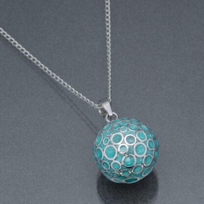 Bola turcoaz cu bule de argint (lanț argint)
