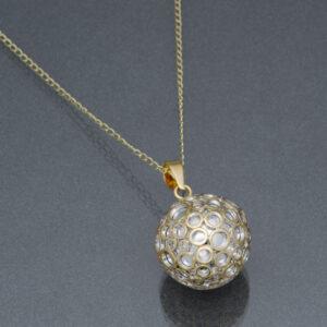 Bola argintiu bule aurii (lanț suflat cu aur)