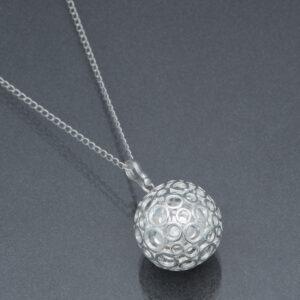 Bola argintiu cu bule de argint (lanț argint)