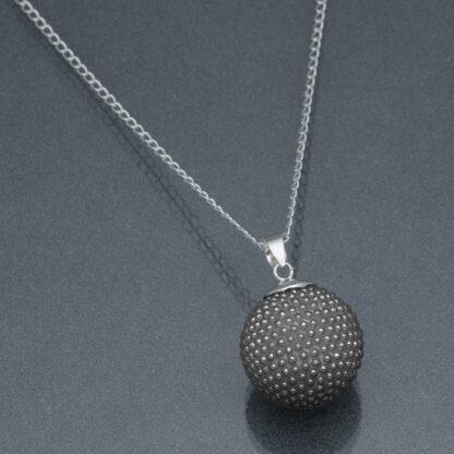 Bola negru perle negre (lanț argint)