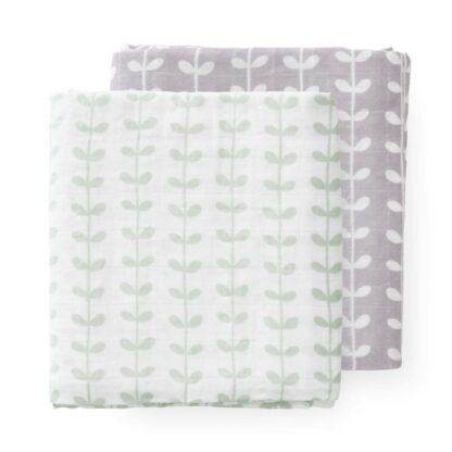 Set păturici muselină Fresk - Leaves mint