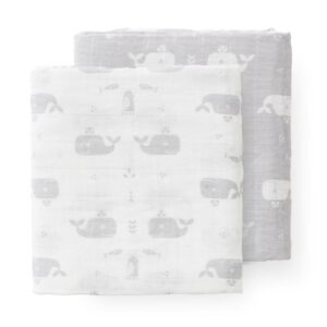 Set păturici muselină Fresk - Whale dawn grey