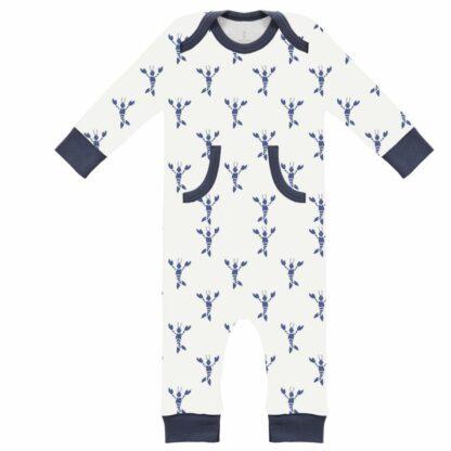 Pijamale fără talpă, din bumbac organic Fresk - Lobster indigo blue