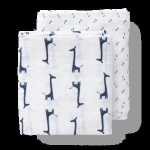 Set păturici de muselină pentru înfășat - Fresk - Giraf indigo blue