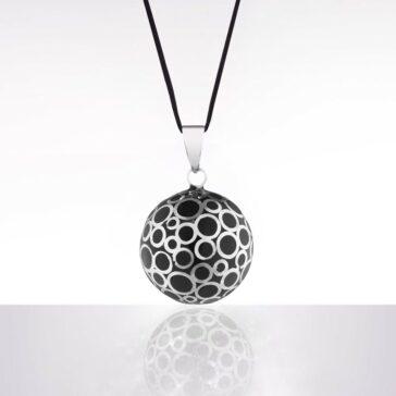 Bola negru bule argintii (șnur negru)