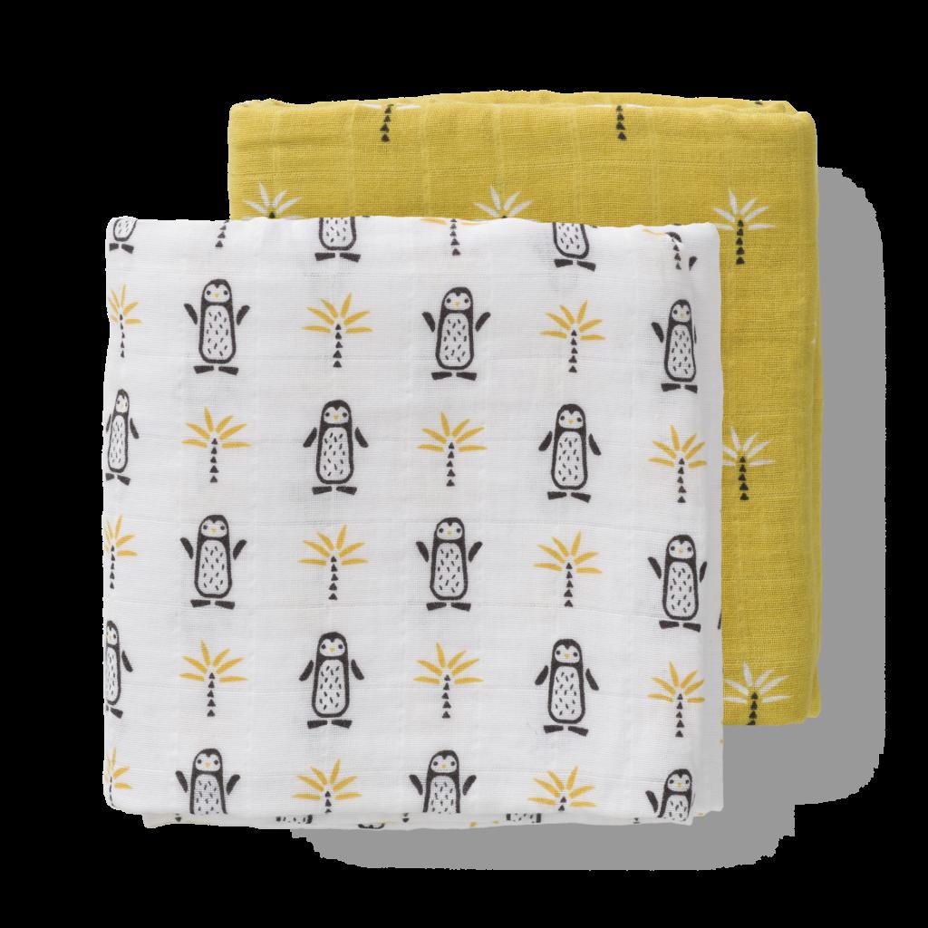 Set păturici de muselină pentru înfășat bebe Fresk - Pinguin (120x120)