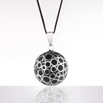 bola negru bule argintii snur negru